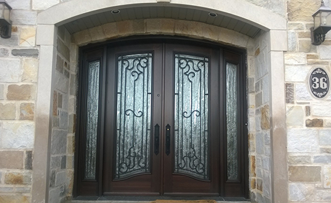 solid wood arched front door