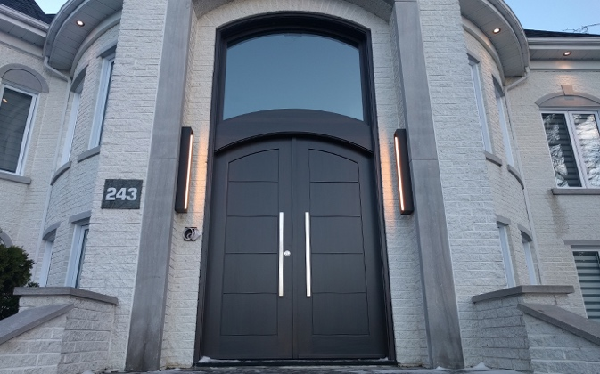 Modern-style double solid wood arched front door